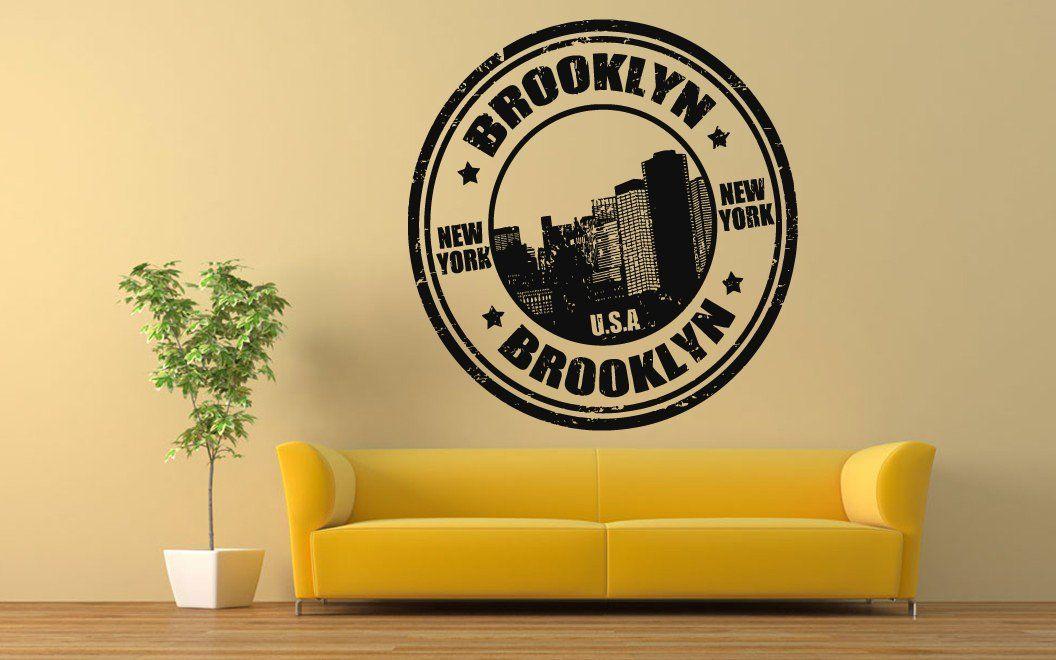 Wall Room Decor Art Vinyl Sticker Mural Decal Brooklyn NY Stamp - Custom vinyl decals brooklyn