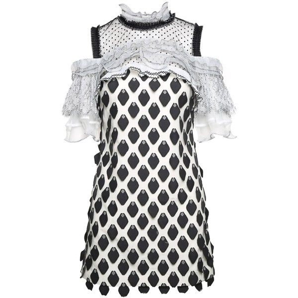 4f0a5085e459 Self-Portrait Ruffle-Trim 3d Petal Mini Dress (8.115.980 VND) ❤ liked on  Polyvore featuring dresses, nero, white ruffle dress, white dresses, white  lace ...