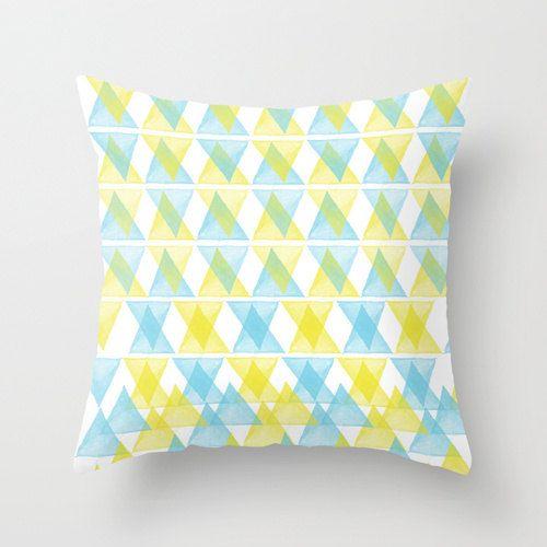 Pillow Cover, Watercolour Triangles, Throw Pillow, Lime Blue, Modern Decor, Nursery Room Pillow, 16x16 Pillow, Home Decor - Arlequin, #homedecor, #throwpillow #pillow