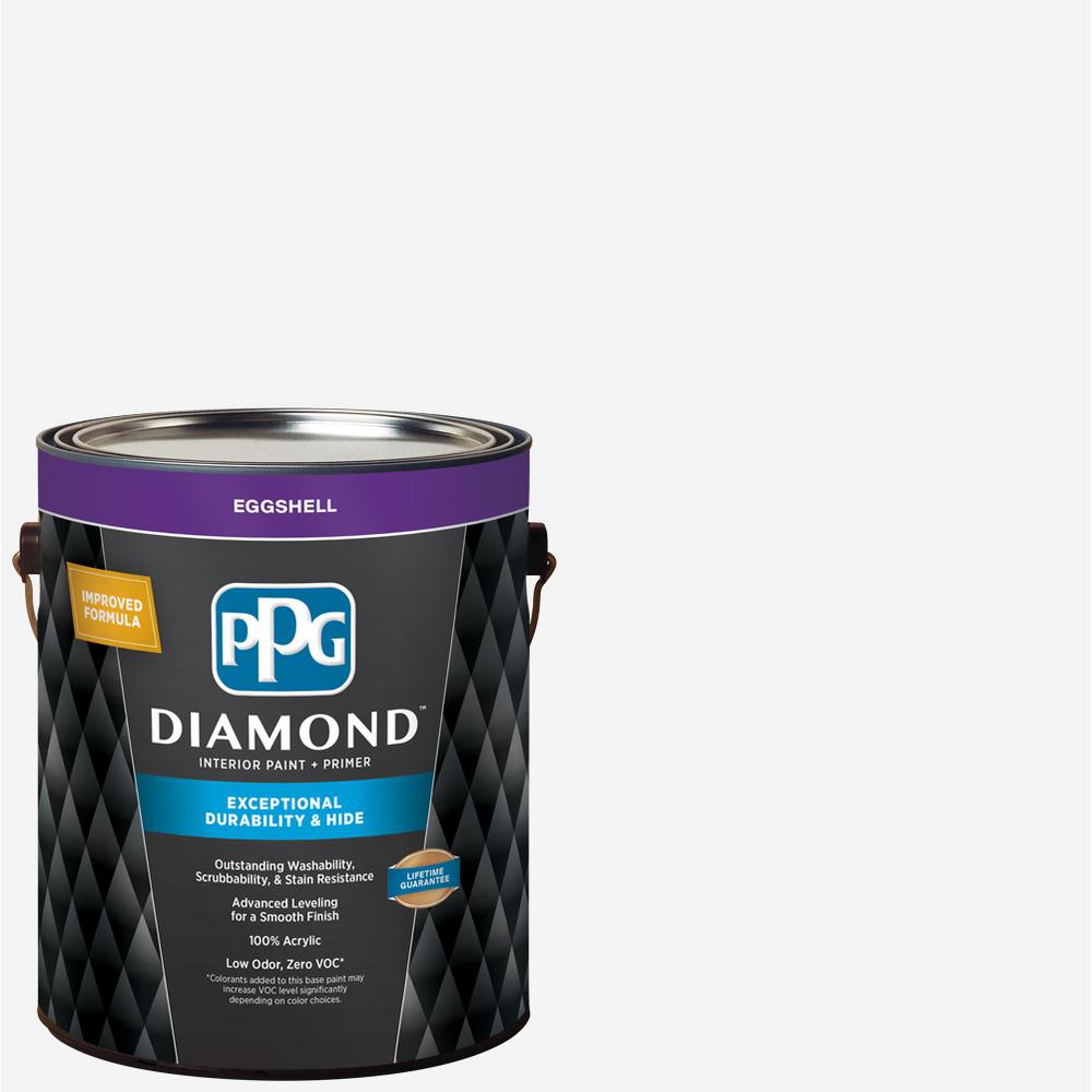 Ppg Diamond 1 Gal Pure White Eggshell Interior Paint And Primer Gld 7211 01 In 2020 Interior Paint Ppg Diamond Pure Products