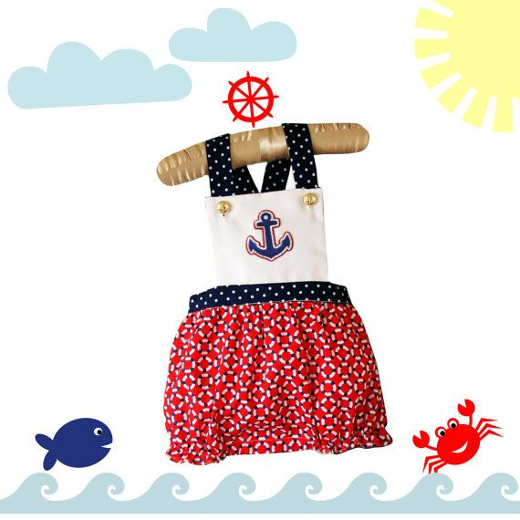 $20 Romper Bubble, Nautical Romper with Blue, Red and White Accents, Jumpsuit , Unisex