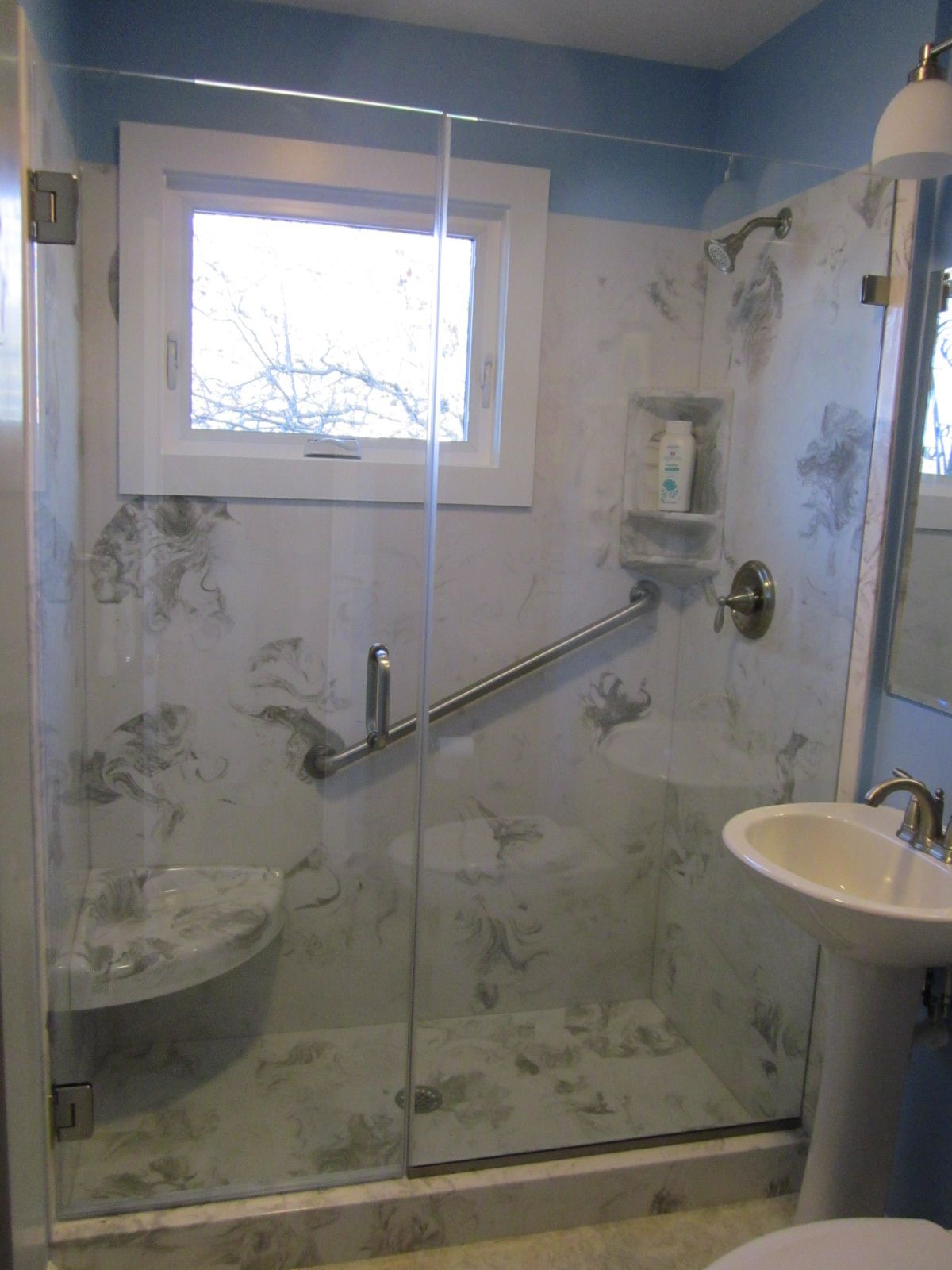 Cultured Marble Shower Replaced A Standard 5 Tub
