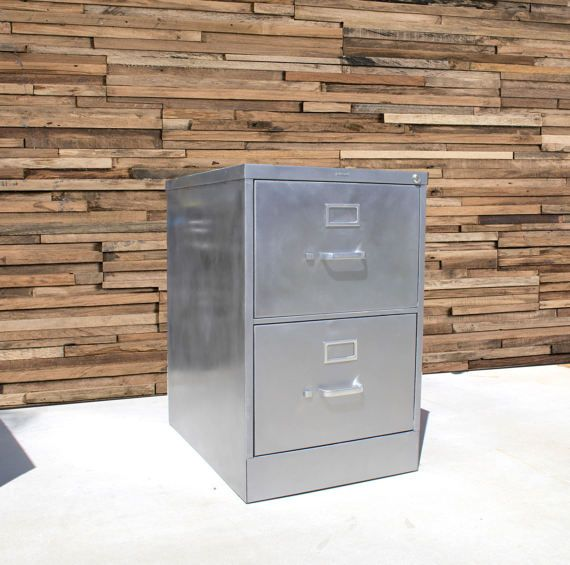 Refinished Bare 2 Drawer Legal Size Metal Filing Cabinet Etsy Filing Cabinet Metal Filing Cabinet Industrial Office Furniture