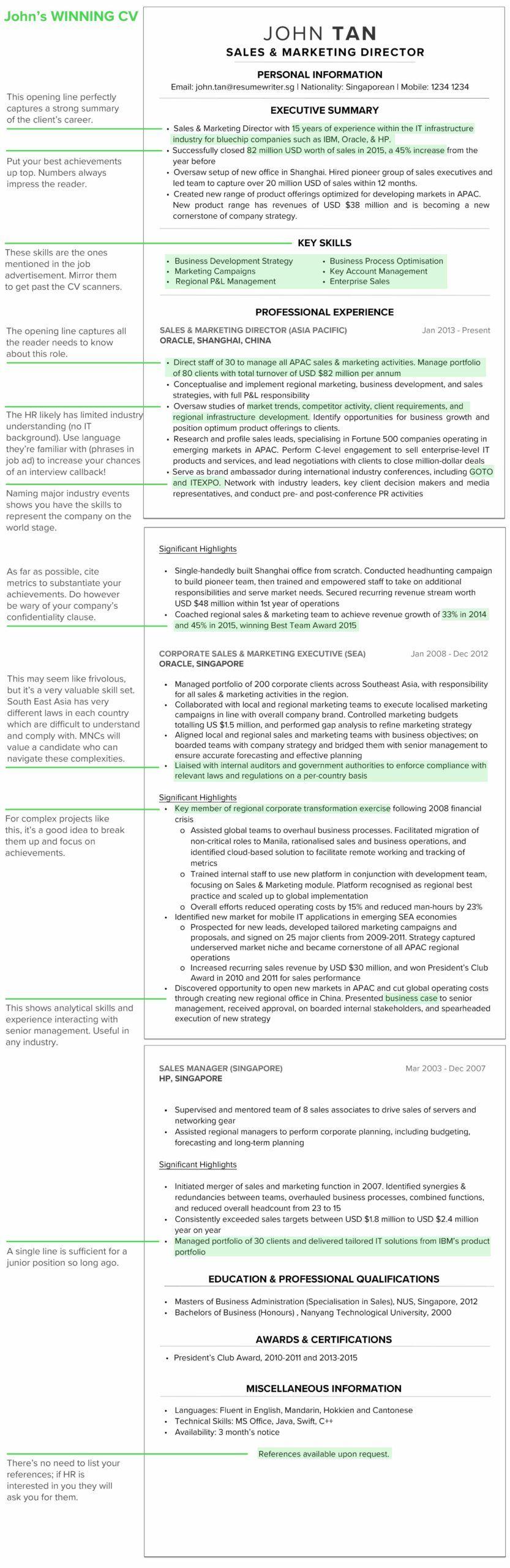Winning Resume Example CV Example in 2020 Cv guide