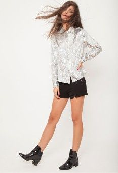 silver sequin shirt