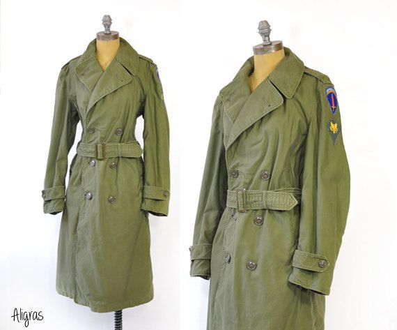 Vintage Military Trench Coat • WWII Green Trench Coat • Army Green ...