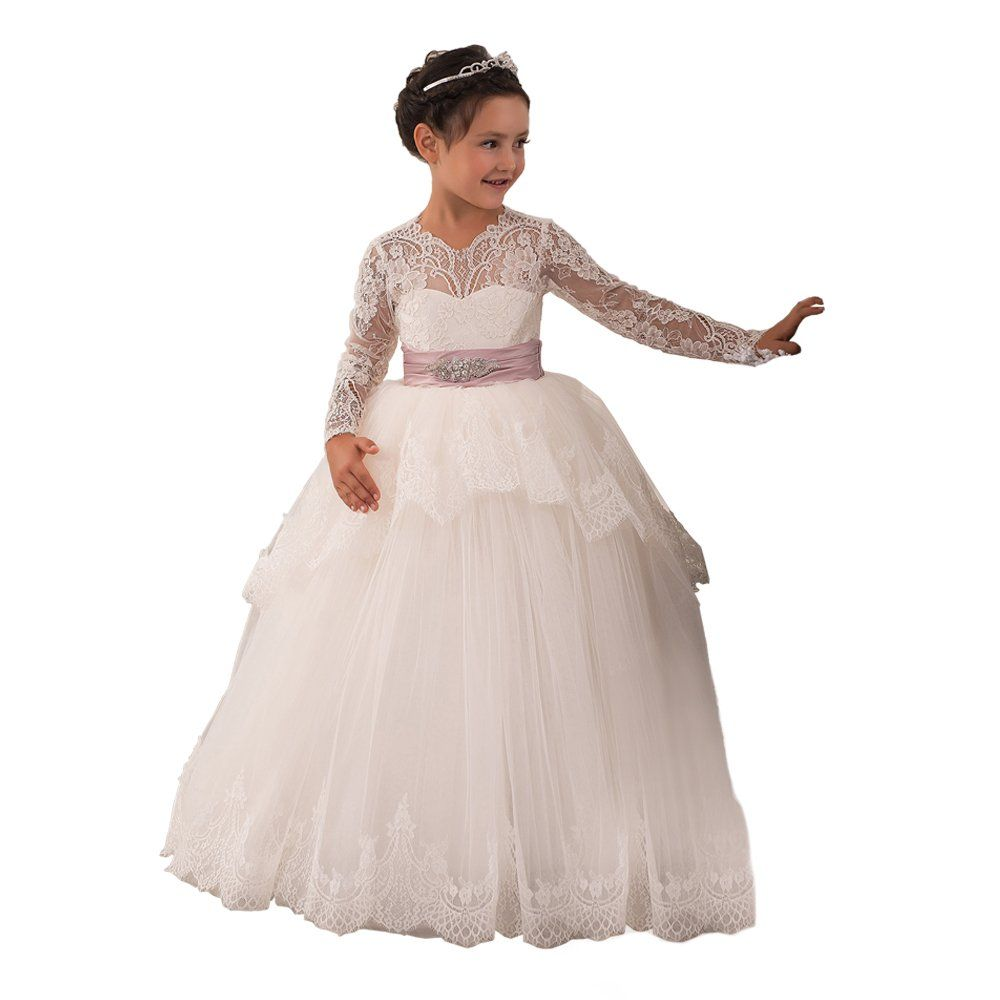Lace First Communion Girls Ball Gowns 2 12 Year Old Ivory Custom
