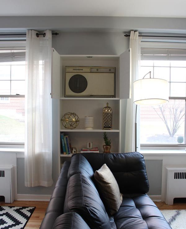 A genius way to cover up a permanent air conditioner in the colder ...
