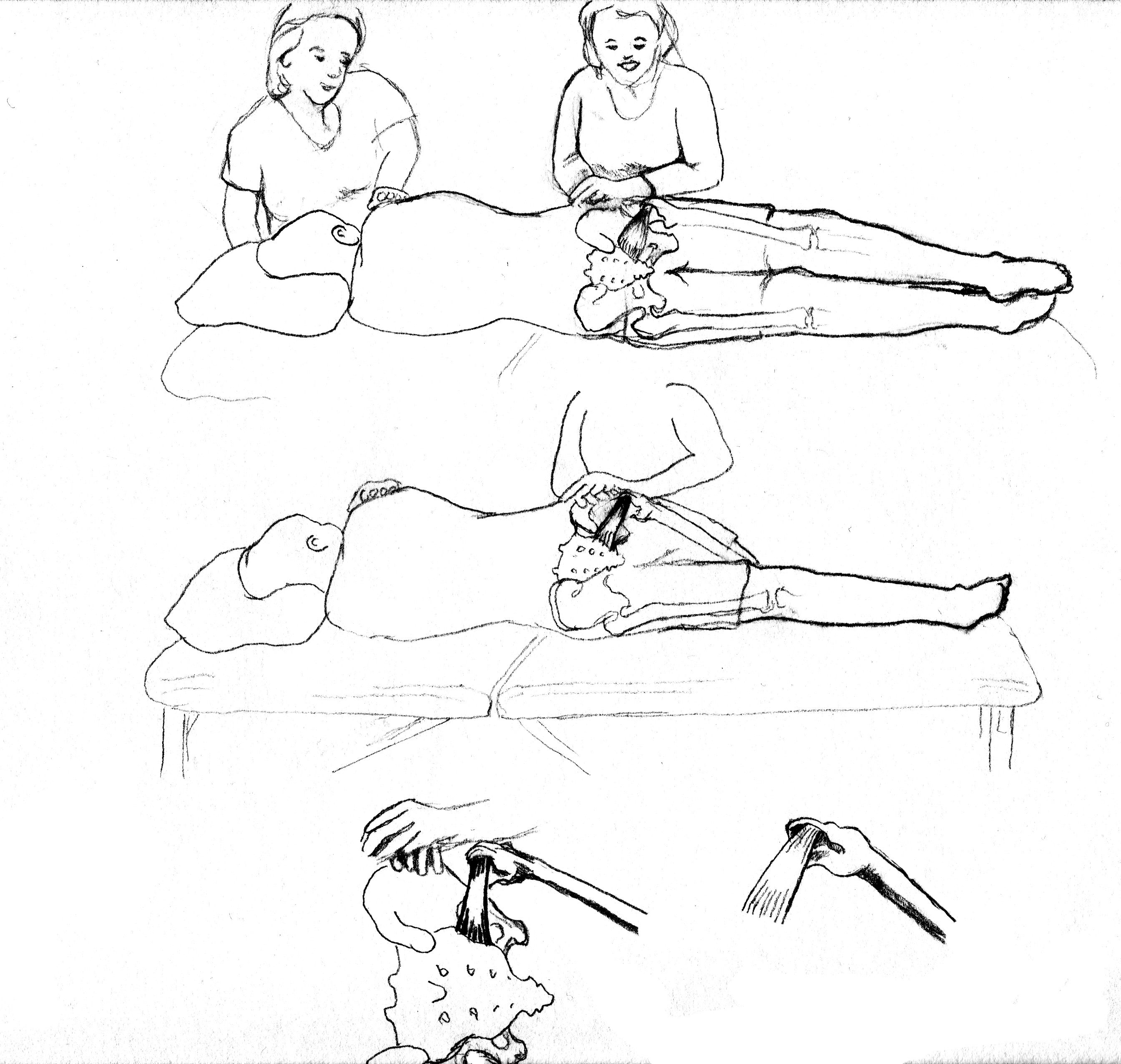 Pelvic Floor with Sidelying Release sketch (Pregnancy ...