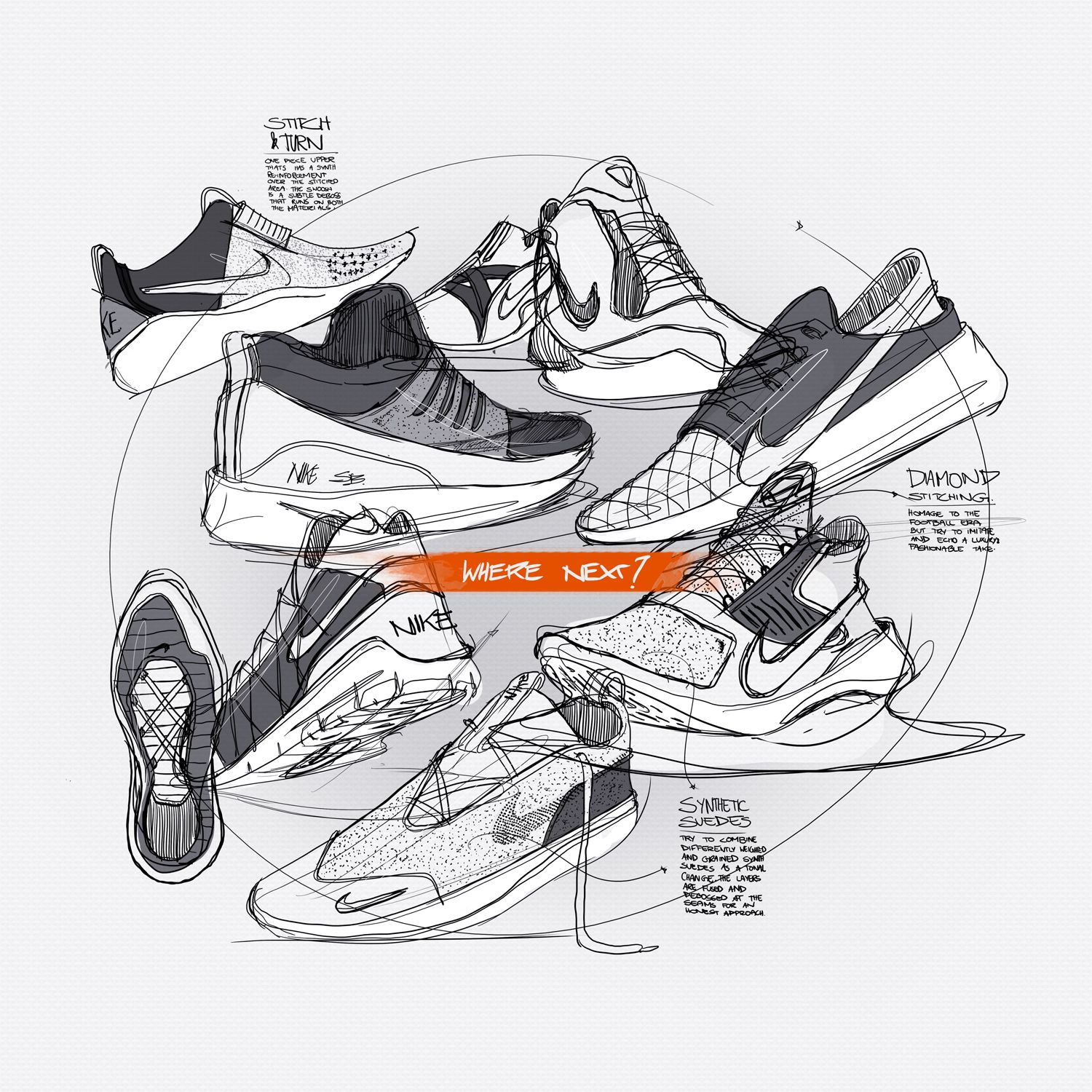 A library of footwear sketches and ideas compiled. An ongoing endeavour.