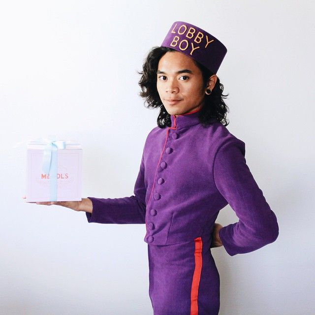 Me as Zero the Lobby Boy from the Wes Anderson film The Grand Budapest Hotel. It was a lot of fun making matching hat and Mendl's box! -Jeff Rubio