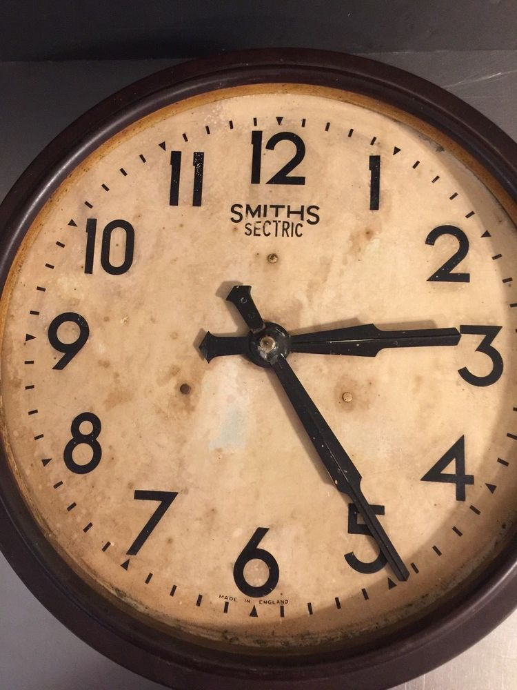 Vintage Smiths Sectric Wall Clock School Bakelite Metal Wall Decor ...