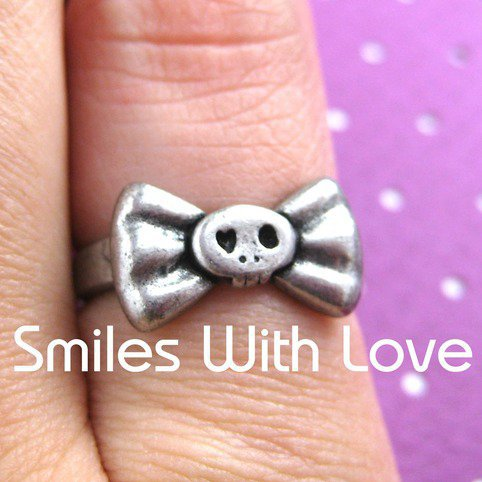 #smileswithlove on Artfire                          #ring                     #SmilesWithLove #Mini #Skull #Ring #Silver #Sizes #available #Online #Store #Powered #Storenvy          SmilesWithLove | Mini Skull Bow Tie Ring in Silver - Sizes 5 and 6 available | Online Store Powered by Storenvy                                             http://www.seapai.com/product.aspx?PID=760440