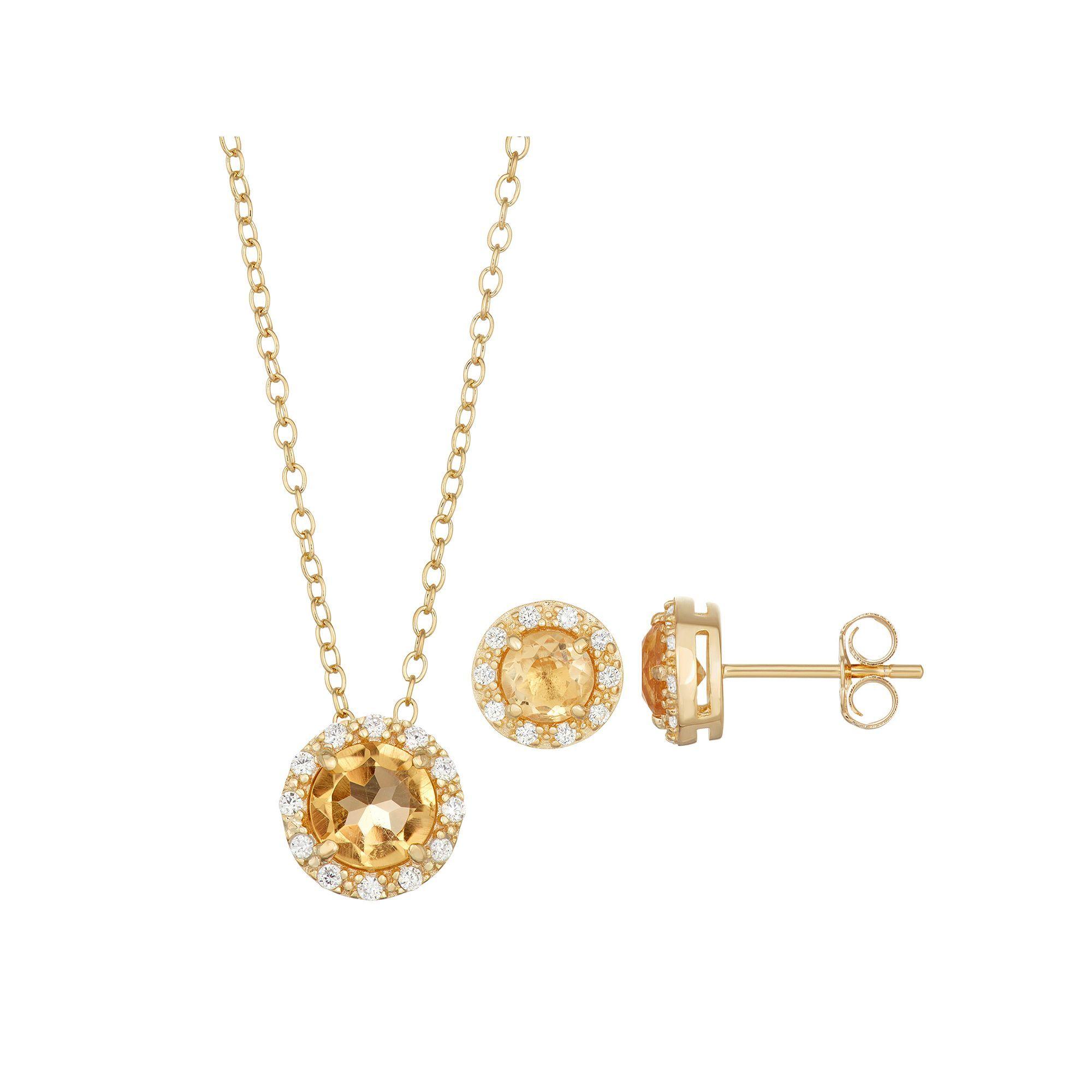 Kohlus k gold over silver citrine u cubic zirconia halo pendant