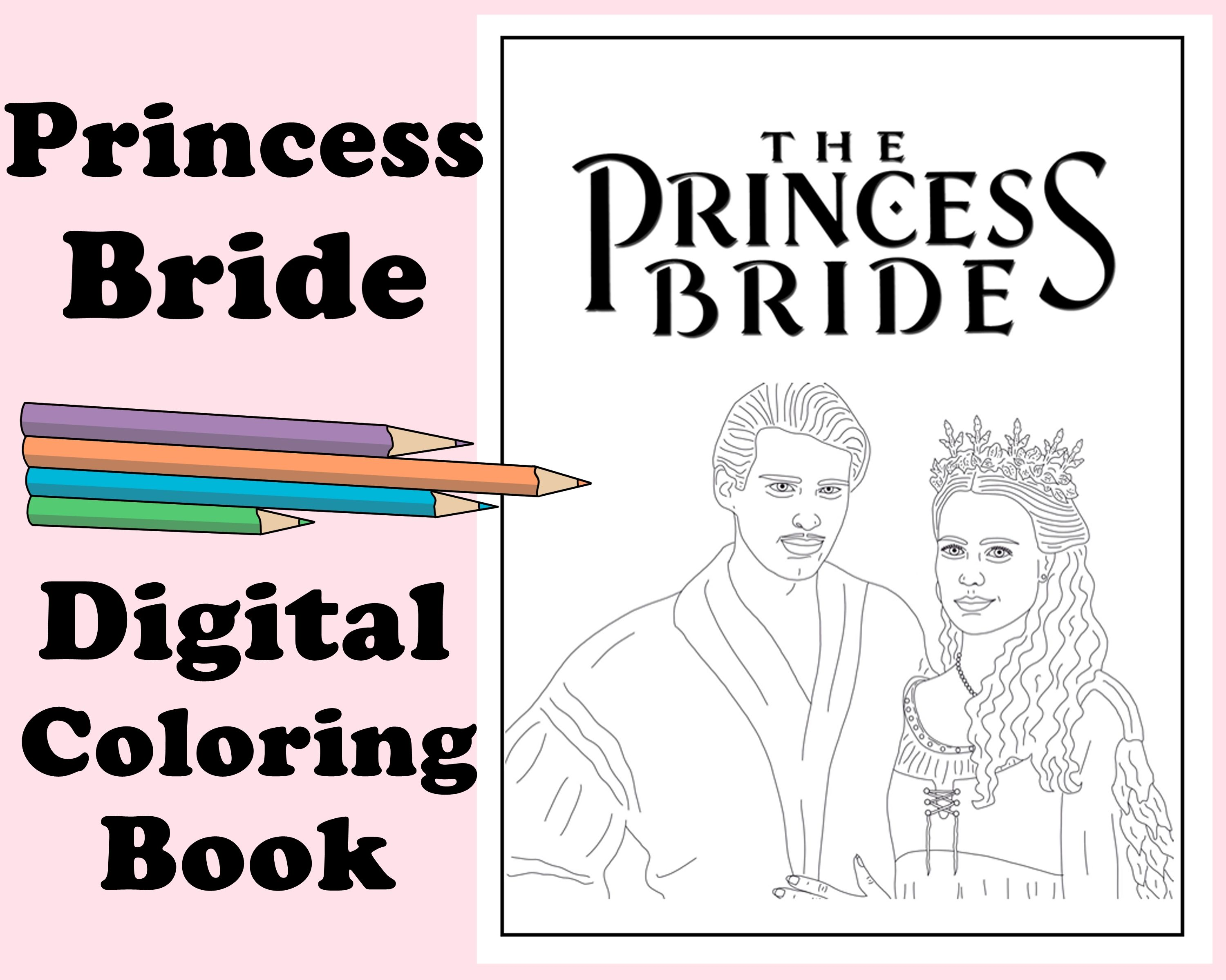 The Princess Bride Coloring Book Instant Printable Digital File Travel Or Rainy Day Activity Art Therapy Coloring Pages Romance Coloring Books Coloring Pages Princess Bride