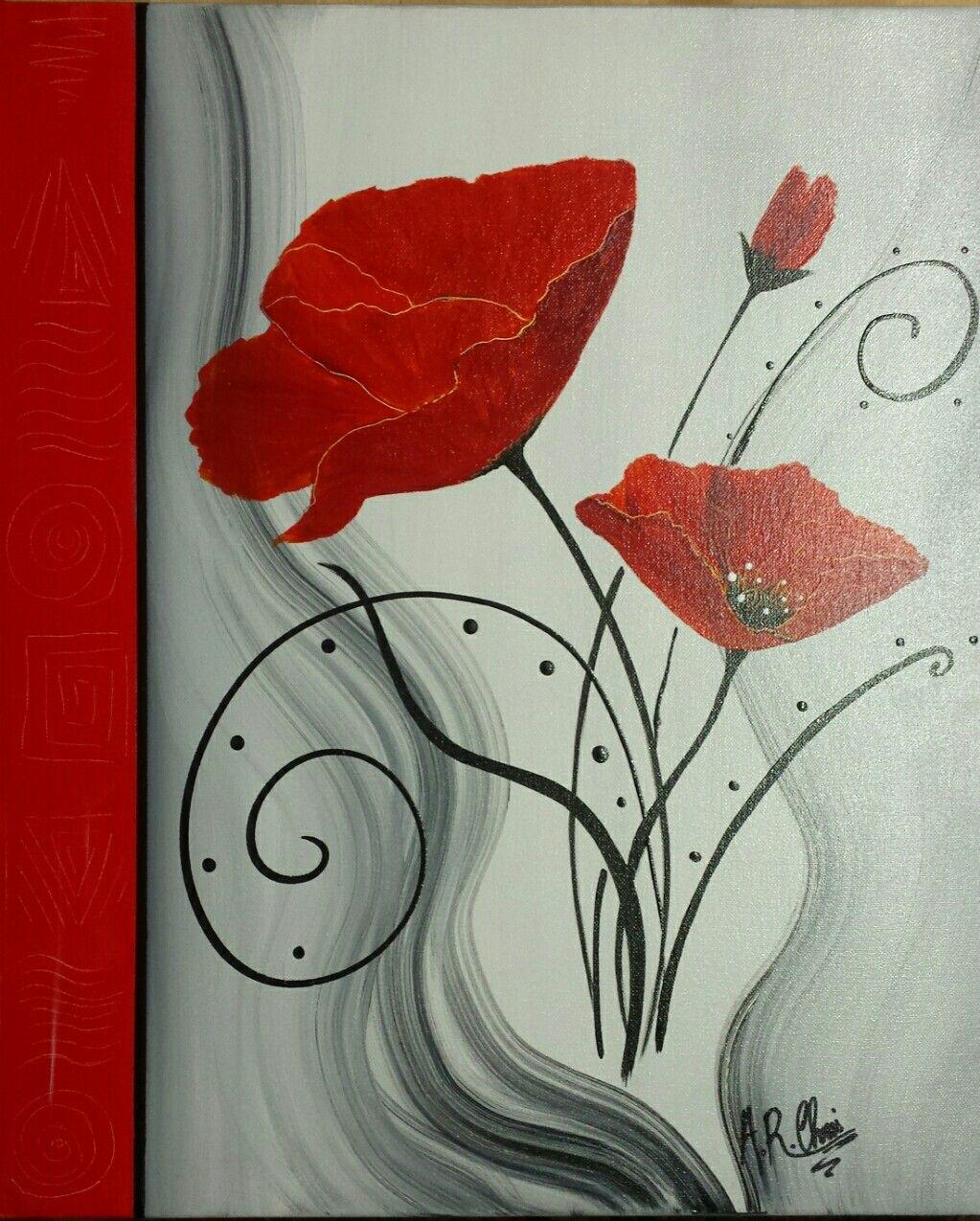 Rouge Peinture Acrylique Sur Toile 40x50 By Raffin Christine