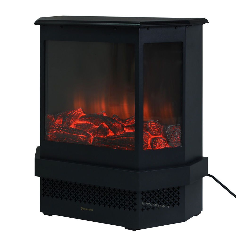 Free standing ud electric fireplace w adjustable heater fire