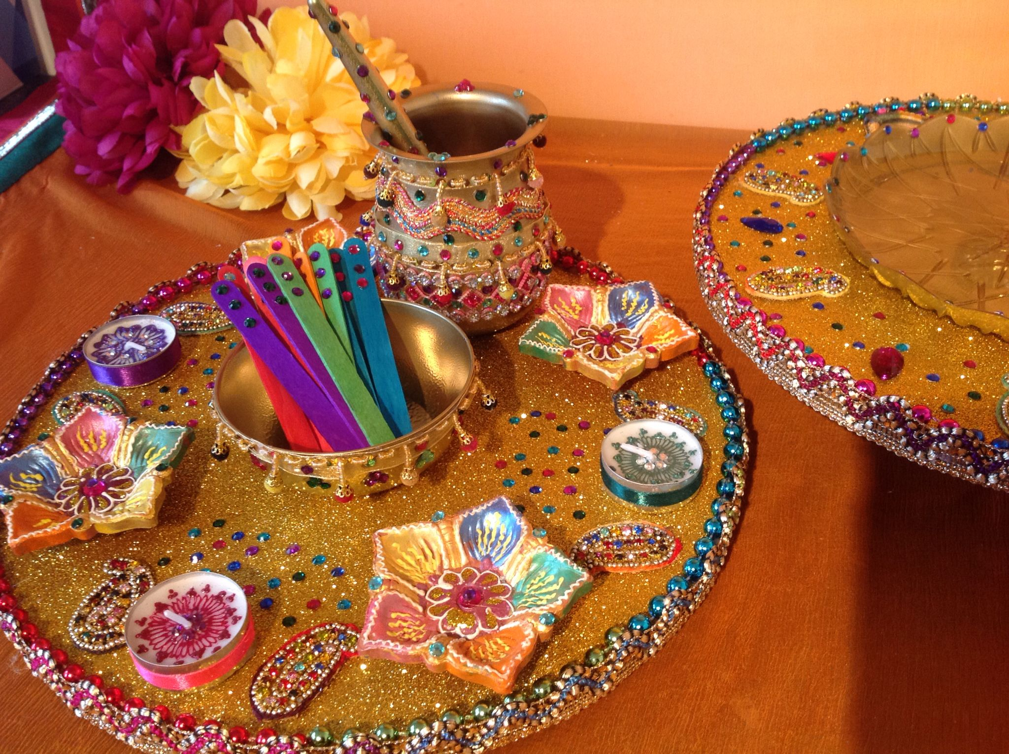 Mehndi Plates Images : Multicoloured oil and mehndi plate. see my facebook page www