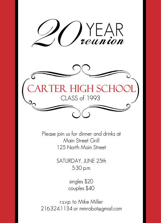 Reunion Invitations - Classic Red and White 20 Year Class Reunion ...