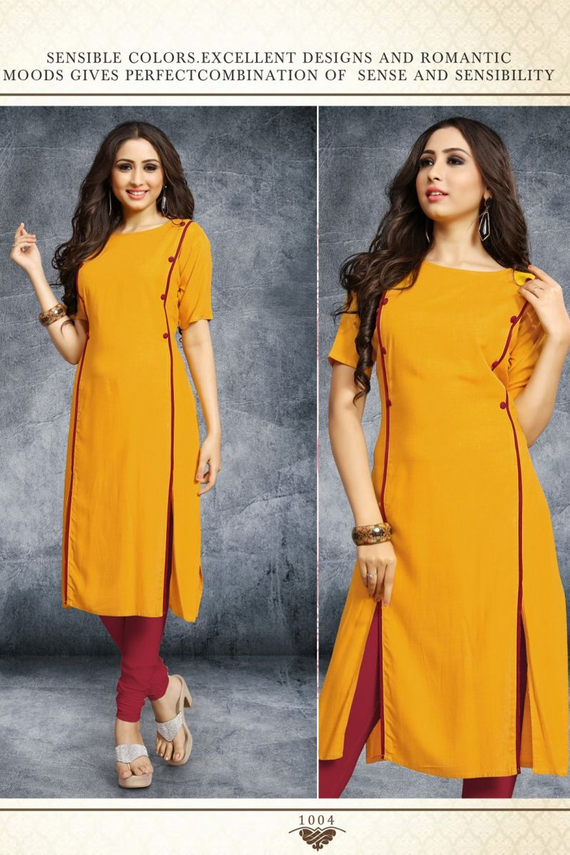 Orange Simple Office Wear Plain Rayon Knee Length Kurti On Factory Rates 1004 7850 Who With Images Simple Kurta Designs Simple Kurti Designs Plain Kurti Designs