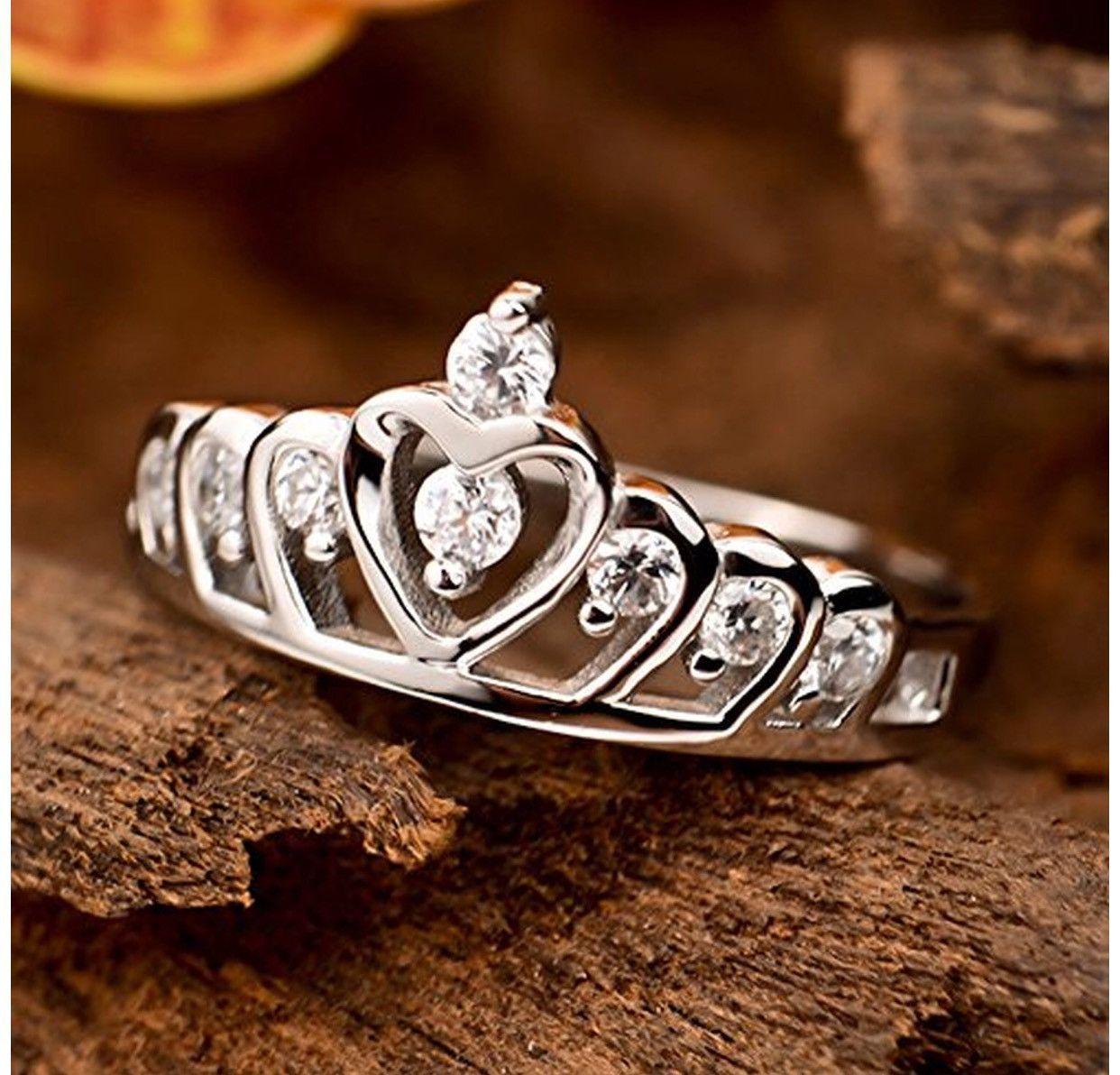 .925 Heart of Princess Crown Ring