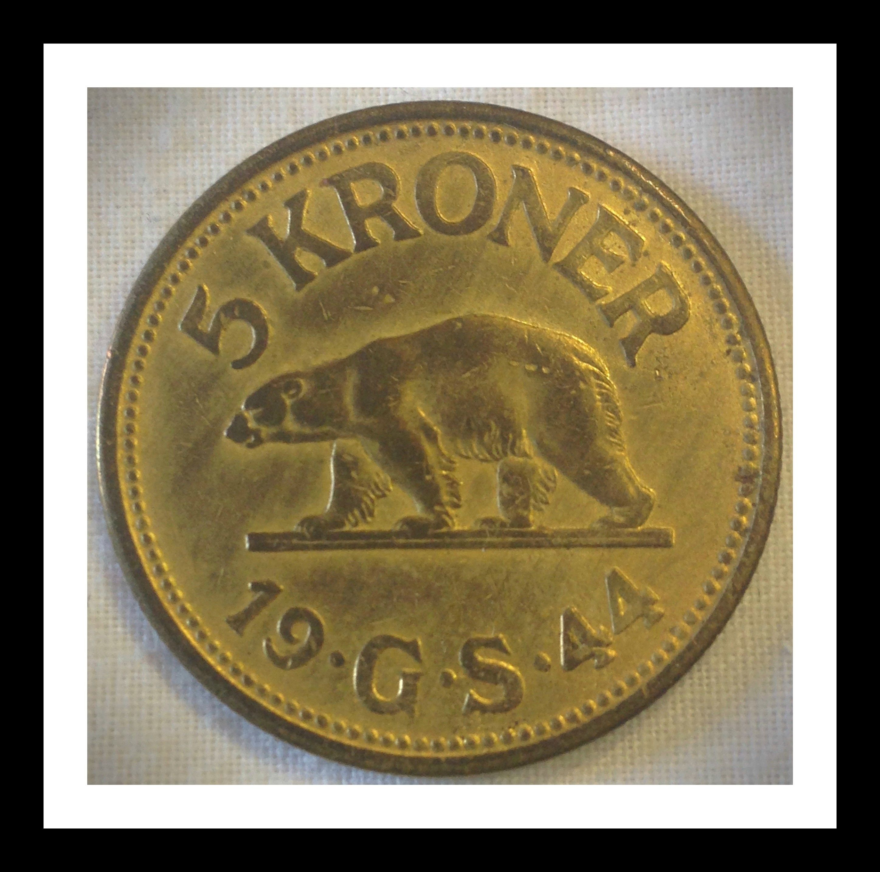Greenland 5 Kroner 1944 Condition Vf This Rare Coin Was Minted For The Us Soldiers Stationed In Greenland During World War 2 The Coins Were Actua Krone Penge