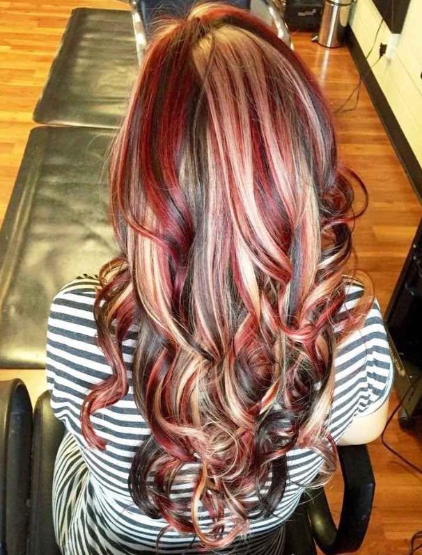 Dark Brown Hair With Chunky Red And Blonde Highlights Haircolorblonde Red Highlights In Brown Hair Red Blonde Hair Red Brown Hair