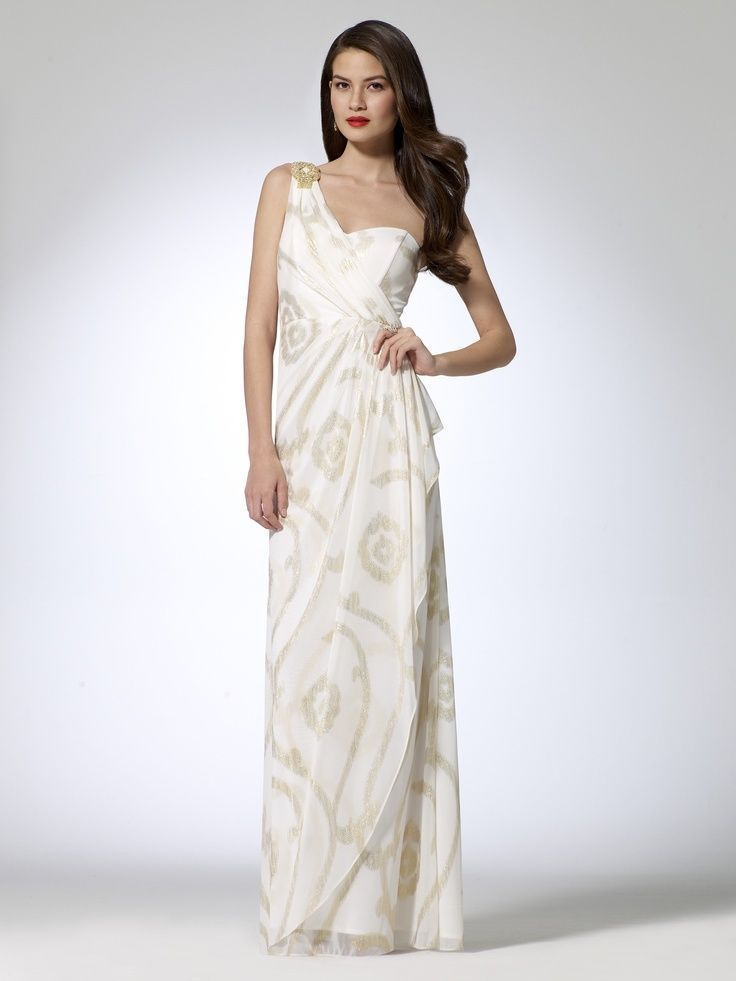 NWT Cache Sexy White Gold Foil Swirl Formal Gown Prom Evening ...