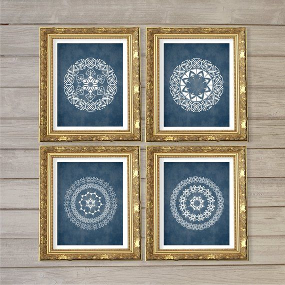 Geometric Circle Mandala Medallion Pattern Printable Wall Art Set of 4 -8×10- Navy Blue Instant Download Digital Print Livingroom Home Decor
