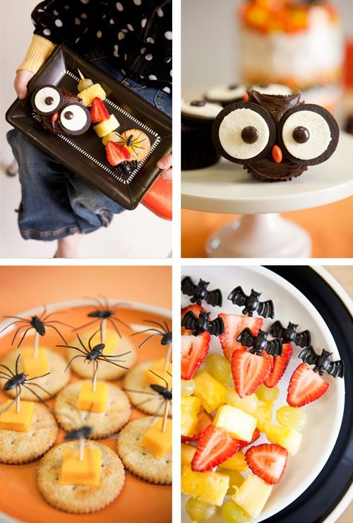 Halloween School Party Inspiration - cheese and crackers and fruit - halloween treat ideas for school parties