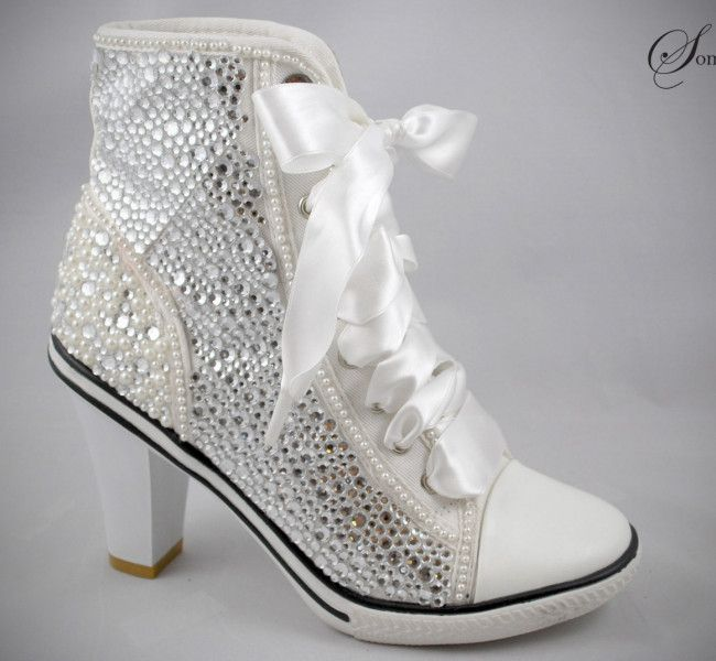 Wedding Sneakers With Heels And Bling Wedding Shoes