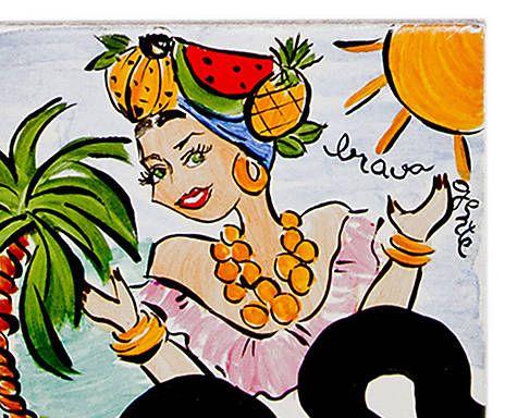 Azulejo Carmen Miranda Brasileirinhos - 10x10cm