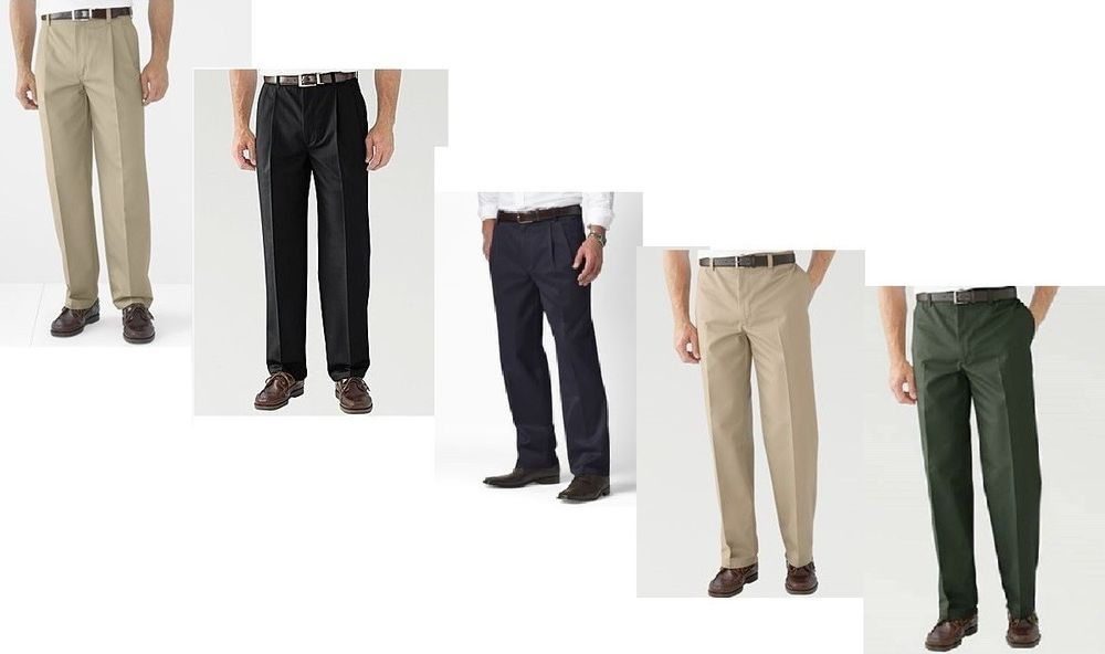 St Johns Bay Mens Pants Worry Free Chino Classic size 30 32 34 36 38 40 NEW