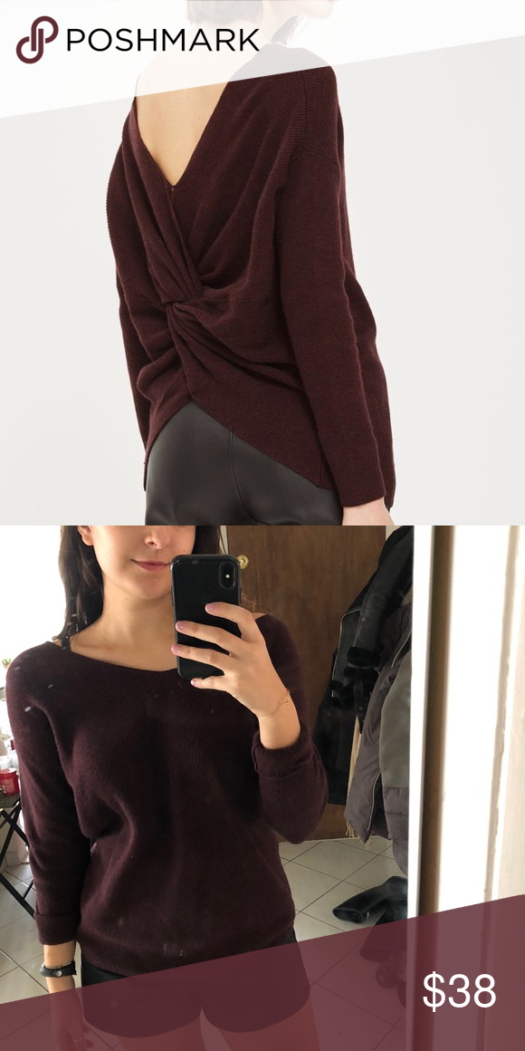 0f911fc0334fc Topshop off the shoulder Sweater with twisted back Gorgeous sweater! Off  the shoulder and a deep maroon color. Only worn once indoors!
