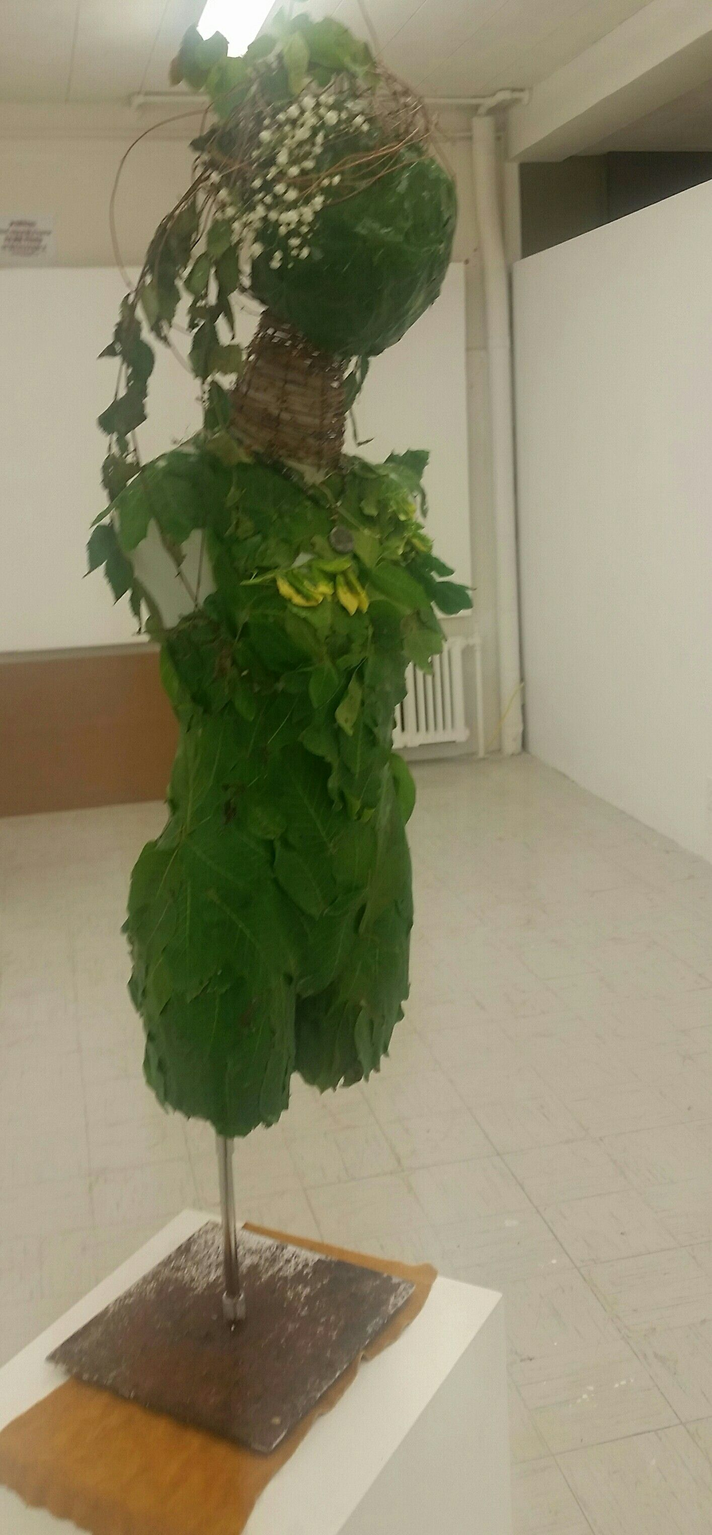 Dryaid Decending Is An Art Sculpture Made From Composted Grapevine Maple And Walnut Leaves Wildflowers Broken Dress Form