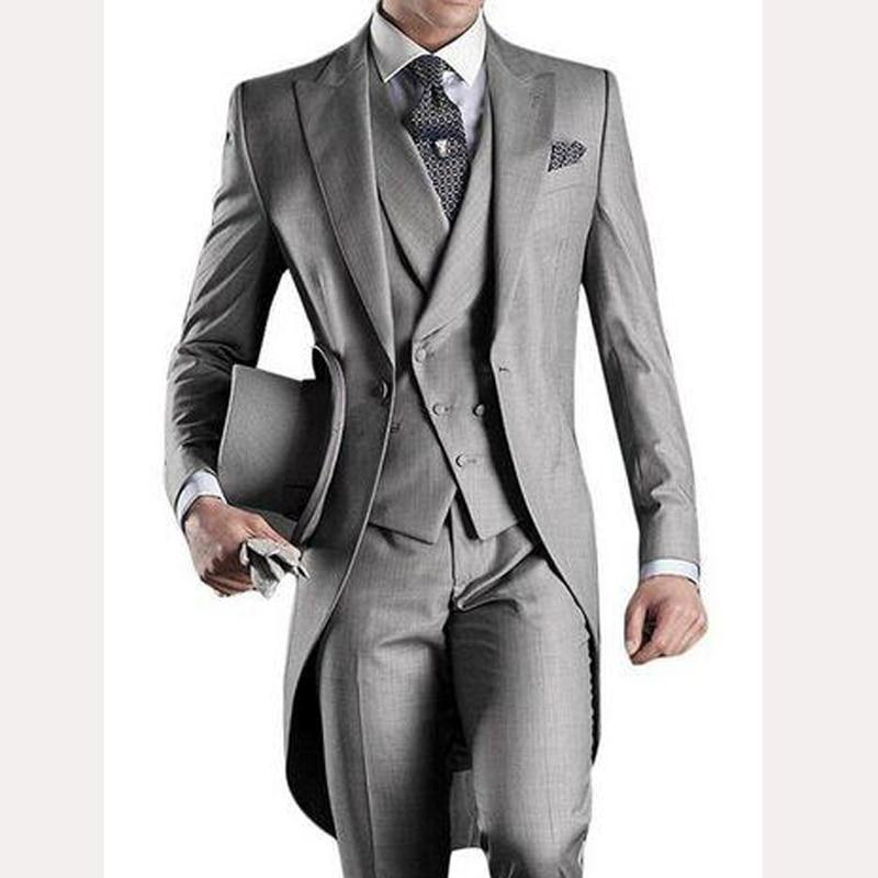 Light Gray Long Wedding Groom Tailcoat 2018 Custom Mens Suits Three Piece Groom Tuxedos Male Blazer Jacket Pants Vest #men'ssuits