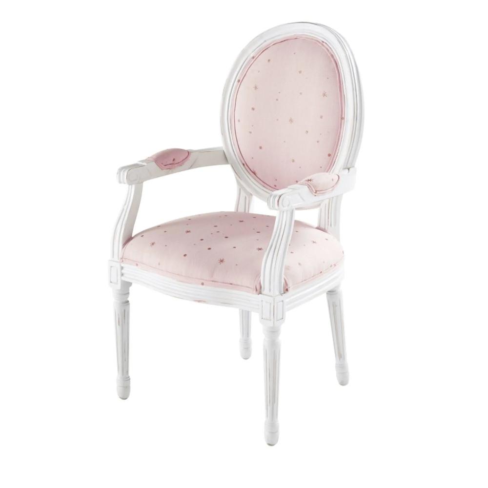 fauteuil enfant rose motifs etoiles