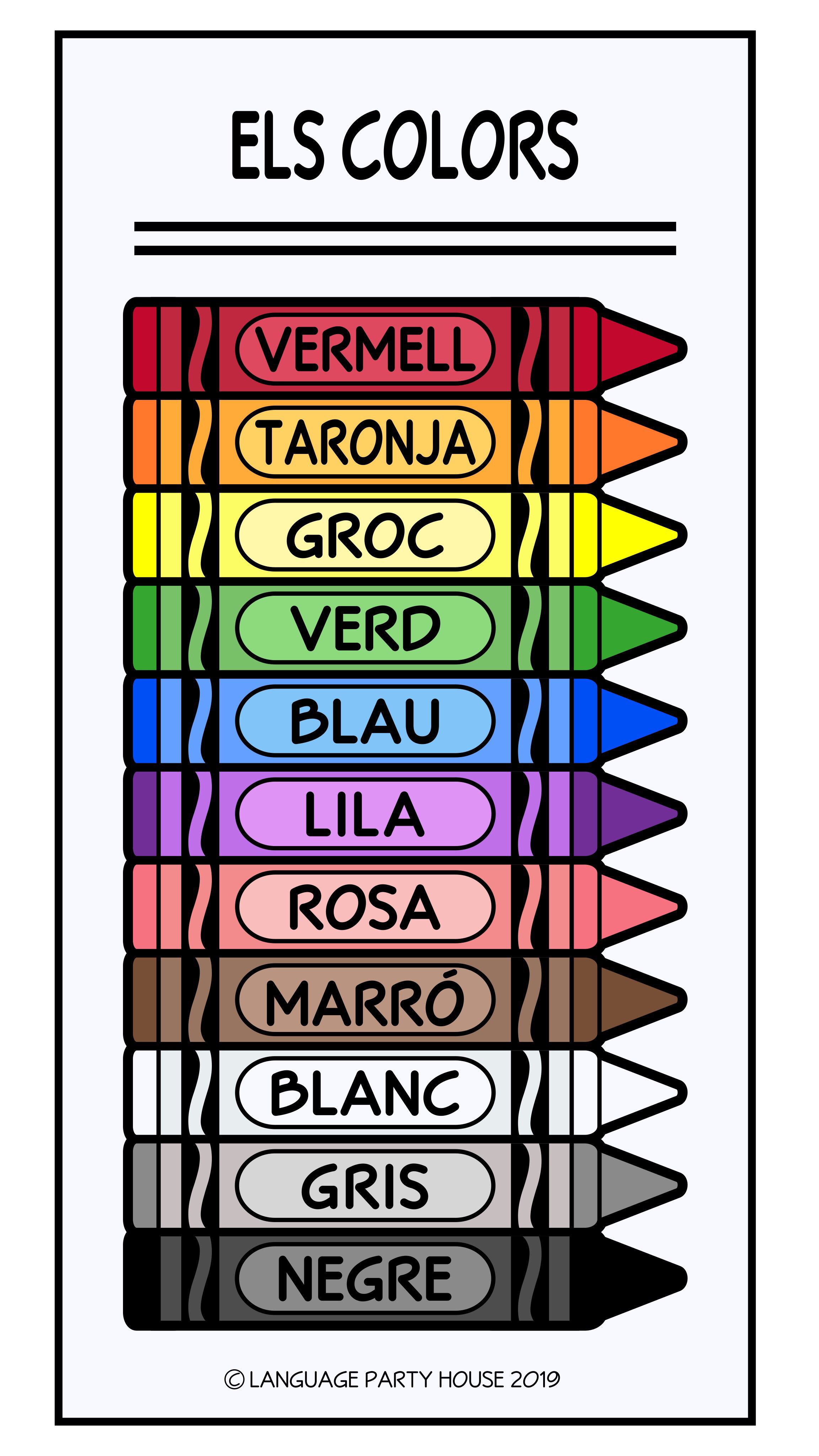Crayons in Catalan / Colors in Catalan | Idioma catalán, Catalanes ...