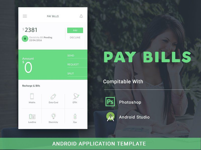 Pay bill android app template wallet ui pinterest template create beautiful billing application with our awesome user interface clean ui with cool colors ccuart Gallery