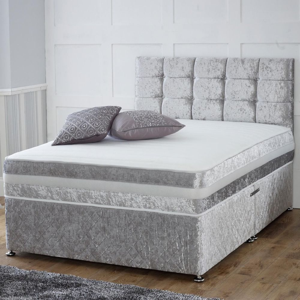 Crushed velvet divan bed memory mattress headboard 3ft for Velvet divan bed frame