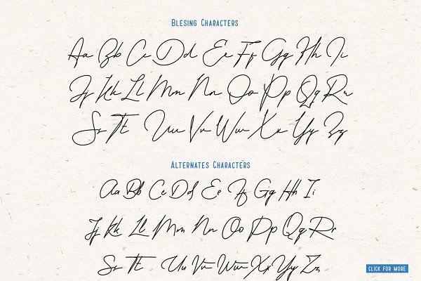 Blesing signature style - Script | Fonts | Signature fonts