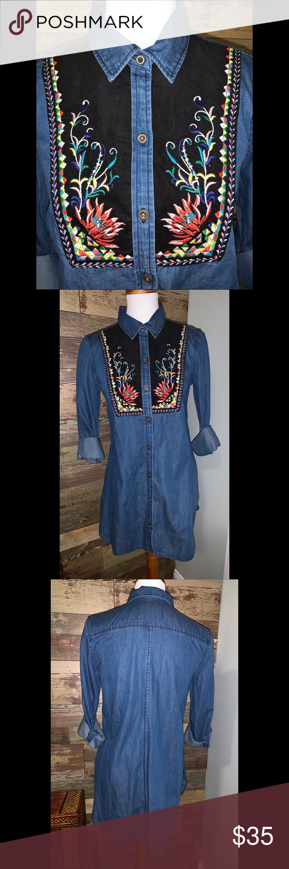 d324ffea2ff NWOT ANTHROPOLOGIE Holding Horses Embroidered Top ANTHROPOLOGIES Holding  Horses Embroidered Chambray Denim Murelet Tunic Cotton Embroidered bib  detail ...