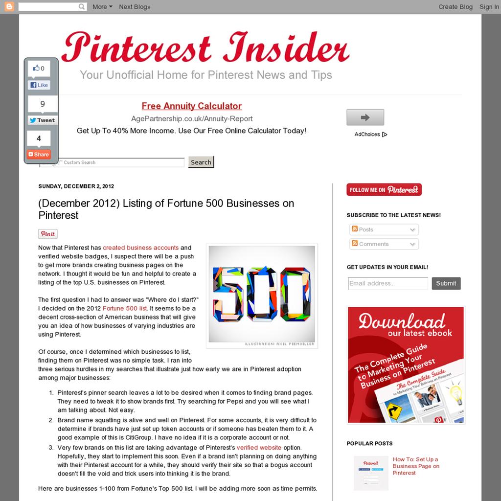 The Fortune 500 on Pinterest - December 2012