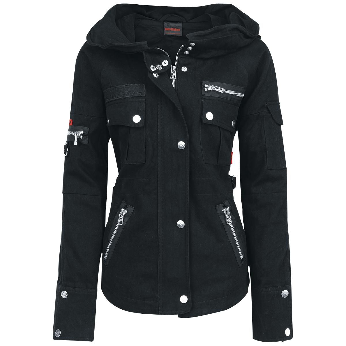 Zipper covered by a row of buttons, the front of the jacket is decorated by buttons and zippers. Length approx. 64 cm