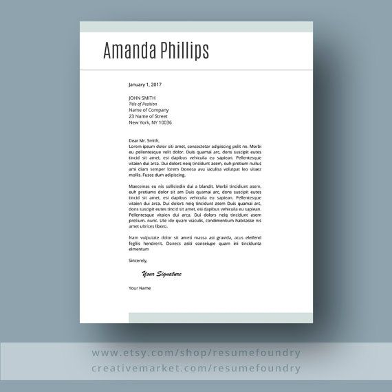 Stylish Modern Resume Template  Cv Template Cover Letter  Work