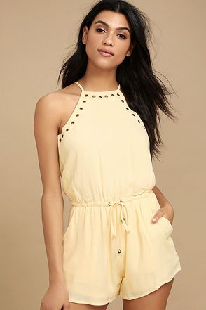 f9f5b3d676a The Believer Light Beige Romper has us believing in fashion magic!  Lightweight woven fabric adorned in trendy brass grommets shapes this romper .