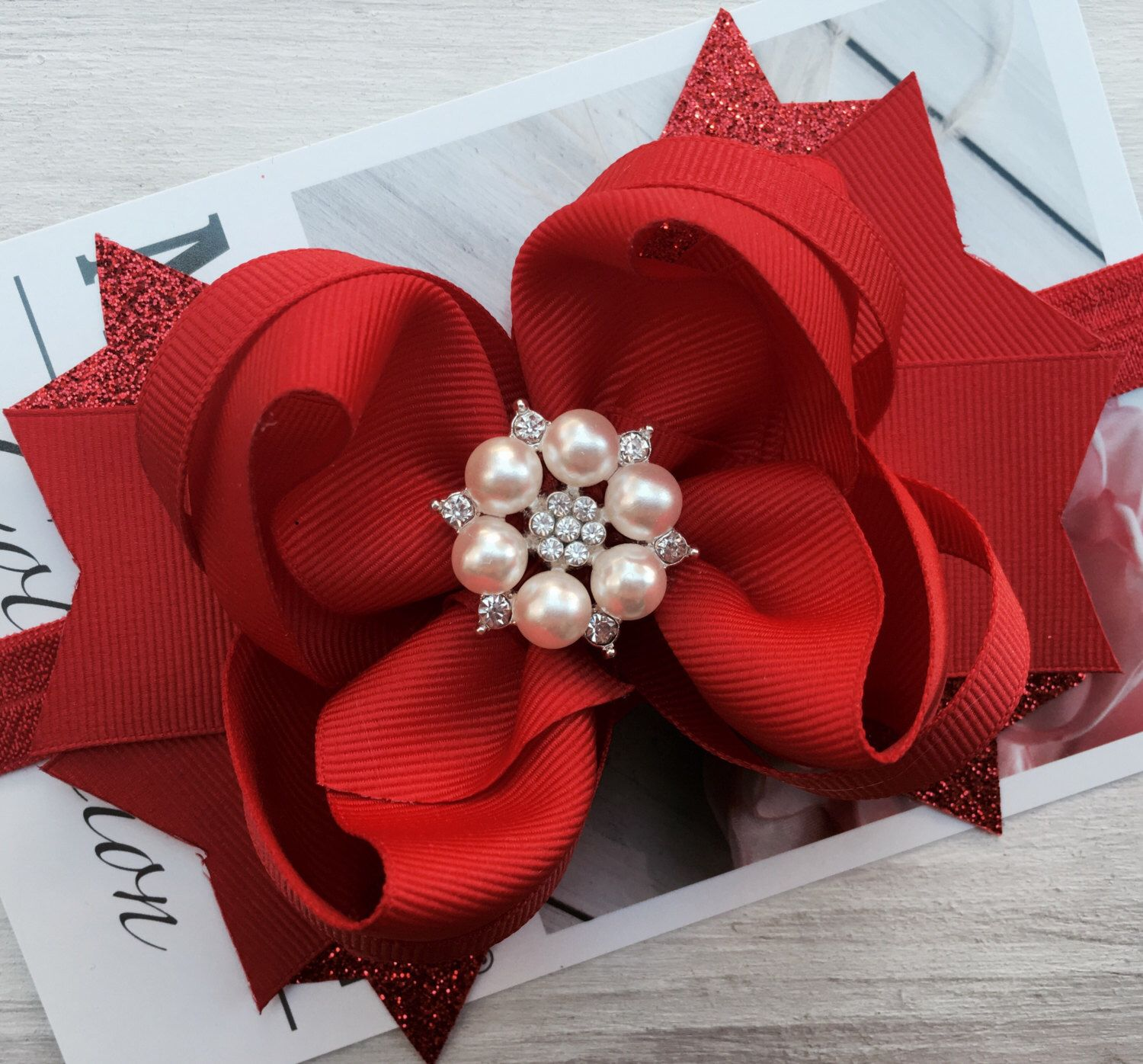 christmas hair bow red