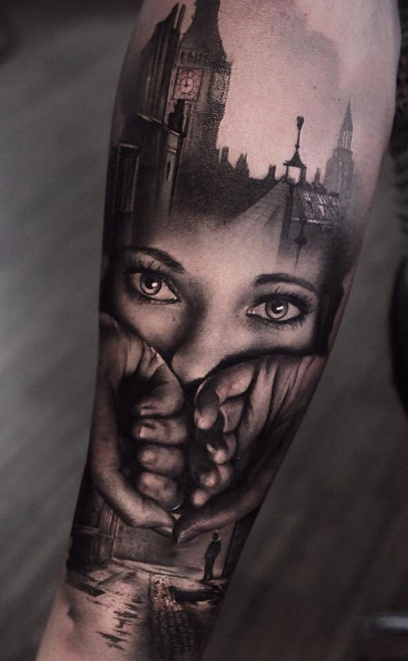 Photo of Beautiful Surrealist Double-Exposure Tattoos Mash Up People, Architecture & Nature