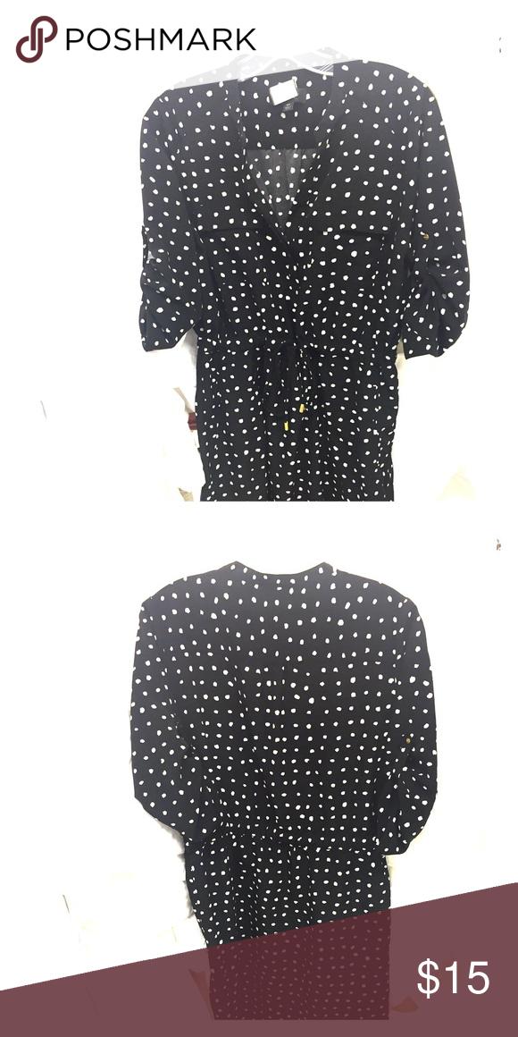 3e0752dfc95953 Black and white Polka dot shirt dress. Very cute polka dot draw string  dress. Gently used. Mossimo Supply Co Dresses Mini