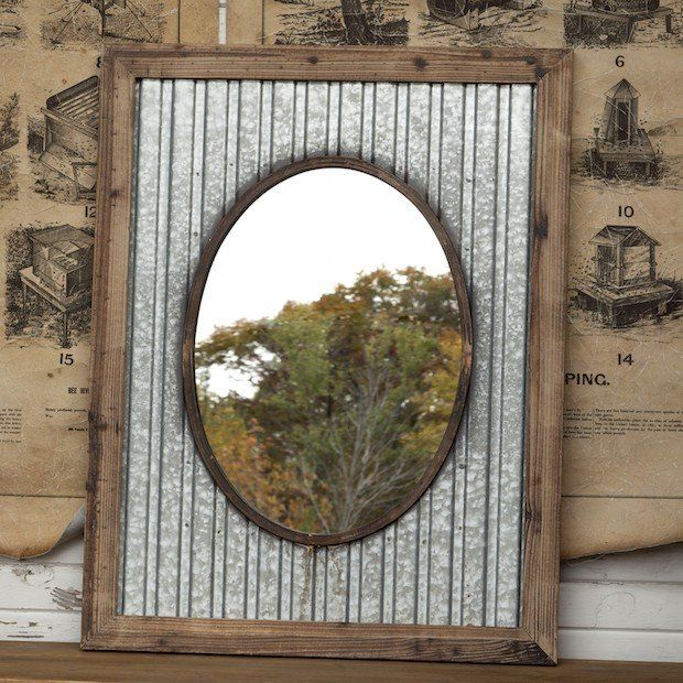 Corrugated Metal Mirror Tin Frame Mirror Antique